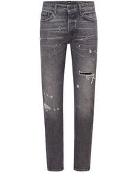 BOSS by HUGO BOSS Tapered-fit Jeans Van Zwart Denim In Used-look - Grijs