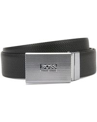 BOSS by Hugo Boss Reversible Leather Belt With Pin And Plaque Buckles - Black