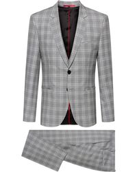 HUGO - Extra-slim-fit Three-piece Suit In Checked Virgin Wool - Lyst