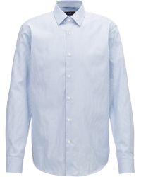 BOSS - Two-color Striped Shirt In Pure Oxford Cotton - Lyst