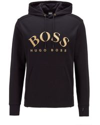 BOSS by HUGO BOSS Sweater Met Capuchon, Gebogen Logo En Verborgen Zak - Zwart