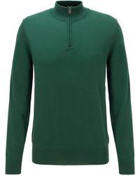 BOSS by HUGO BOSS Jersey de algodón puro con cremallera en el cuello y logo bordado - Verde