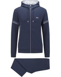 BOSS by HUGO BOSS Cotton-blend Regular-fit Tracksuit With Contrast Logo - Blue
