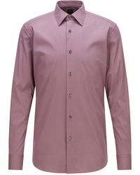 BOSS by HUGO BOSS Slim-Fit Hemd aus Baumwoll-Mix mit Popeline-Struktur - Lila