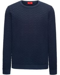HUGO - Crew-neck Sweater In 3d-textured Cotton Jacquard - Lyst
