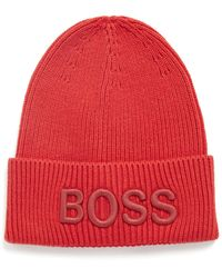 BOSS by HUGO BOSS Beanie Van Een Katoenmix Met 3d-logostiksel - Oranje