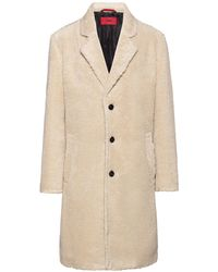 HUGO Relaxed-fit Teddy Coat With Logo Lining - Natural