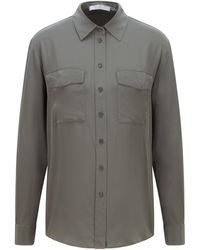 BOSS by Hugo Boss Long-sleeved Blouse In Sand-washed Silk - Green