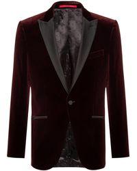 HUGO Slim-fit Evening Jacket In Velvet - Red