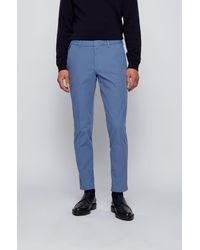 BOSS by HUGO BOSS Slim-fit Pants In Travel-friendly Stretch Twill - Blue