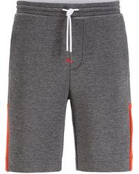 BOSS by HUGO BOSS Shorts Van Interlocked Jersey Met Logo In Color-blocking - Grijs