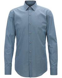 BOSS - Slim-fit Shirt In All-over-print Italian Cotton - Lyst