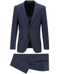 BOSS by HUGO BOSS Slim-Fit Anzug aus gemustertem Schurwoll-Serge - Blau