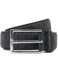 BOSS Italian-made Belt In Coated Fabric With Monogram Print - Black