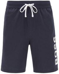BOSS by HUGO BOSS Pyjamashorts Van Stretchkatoen Met Logoprint - Blauw