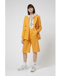HUGO Double-breasted Relaxed-fit Jacket In Stretch Crepe - Yellow