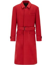 BOSS Relaxed-fit Coat In Virgin Wool With Detachable Belt - Red