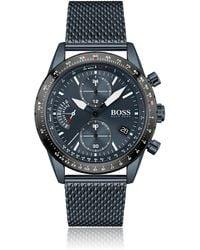 BOSS by HUGO BOSS Blau beschichteter Chronograph mit Mesh-Armband