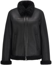 BOSS by HUGO BOSS Relaxed-fit Jacket In Nappa Leather With Shearling Lining - Black