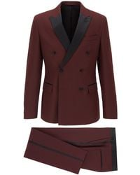 BOSS Double-breasted Slim-fit Suit With Silk Details - Red