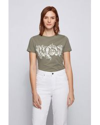 BOSS by HUGO BOSS T-shirt Van Biologische Katoen Met Logo In Bloemenartwork - Groen
