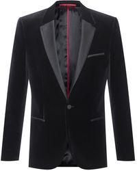 HUGO Extra-slim-fit Evening Jacket In Cotton Velvet - Black