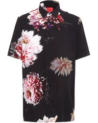 HUGO Relaxed-fit Shirt In Floral-print Canvas - Black