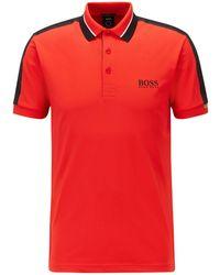 BOSS by Hugo Boss Slim-Fit Poloshirt aus Stretch-Piqué mit gestreiftem Kragen - Rot
