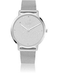 HUGO Mesh-bracelet Watch With Silver Finish And Swarovski® Crystals - Metallic