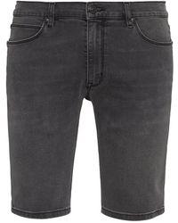 HUGO Slim-fit Shorts In Black-black Stretch Denim