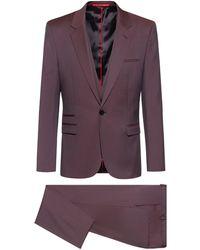 HUGO Traje con chaleco extra slim fit en lana virgen - Rosa