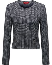HUGO - Slim-fit Cropped Jacket In A Checked Cotton Blend - Lyst