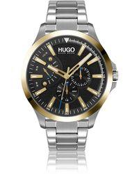 HUGO Link-bracelet Watch With Textured Black Dial - Metallic