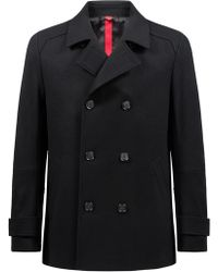 HUGO - Double-breasted Jacket In A Virgin-wool Blend - Lyst