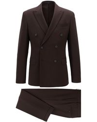 BOSS Slim-fit Double-breasted Suit In Stretch Virgin Wool - Brown