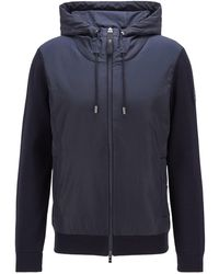 BOSS by Hugo Boss Hybrid Zip-through Jacket With Drawstring Hood - Blue