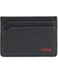 HUGO Logo-print Card Holder In Smooth And Embossed Leather - Black