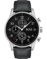 BOSS Stainless-steel Watch With Black Face And Leather Strap