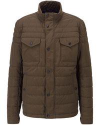 BOSS by HUGO BOSS Wasserabweisende Regular-Fit Jacke mit kontrastfarbenem Innenfutter - Grün