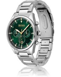 BOSS by HUGO BOSS Green-dial Chronograph Watch With H-link Bracelet - Metallic