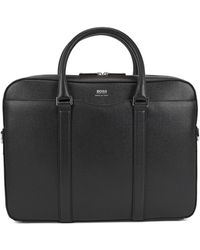BOSS Laptop Bag In Finely-textured Leather: 'signature_s Doc' - Black