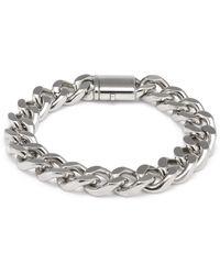 HUGO Polished Chain Cuff With Logo Pushlock Closure - Metallic