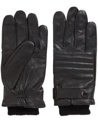 BOSS Quilted Gloves In Lambskin With Touchscreen-friendly Tips - Black