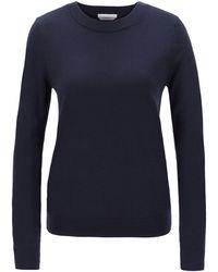 BOSS Crew-neck Sweater In Virgin Wool - Blue