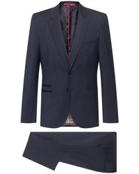 HUGO Extra-slim-fit Three-piece Suit In Virgin Wool - Blue