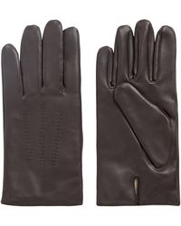 BOSS by HUGO BOSS Lamb-leather Gloves With Piping And Hardware Badge - Brown