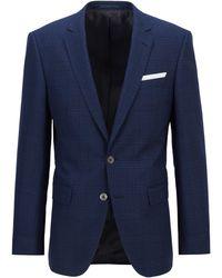 BOSS by Hugo Boss - Slim-fit Jacket In Virgin Wool, Linen And Silk - Lyst