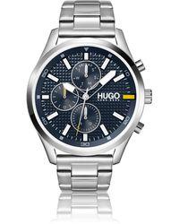 HUGO Link-bracelet Watch With Knurling-textured Dial - Metallic