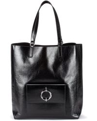 HUGO Shopper Bag In Lustrous Leather With Signature Hardware - Black