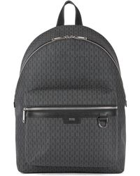 BOSS - Monogram-print Backpack In Coated Italian Fabric - Lyst